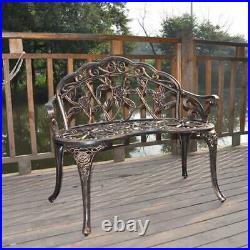 Outdoor Bench Patio Chair Metal Garden Deck Backyard Park Porch Decor Seat 38.5
