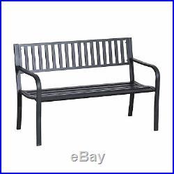 Outdoor Bench Patio Steel Garden Furniture Deck Porch Seat Backyard Park Chair