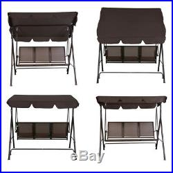 Outdoor Canopy Swing Patio Chair Lounge 3-Person Seat Hammock Porch Bench Brown