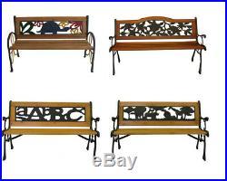 Outdoor Cast Iron Park Porch Chair Patio Garden Bench Hardwood Furniture