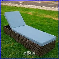 Outdoor Chaise Lounge Recliner Chair Pool Patio Furniture with Backrest Cushion