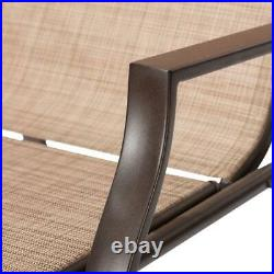 Outdoor Chaise Lounges for Patio Pool Deck, Porch, Reclining, Tan, Set of 2 Two