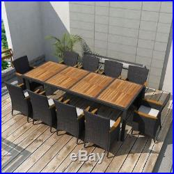 Outdoor Dining Set 21 Piece Poly Rattan Wicker Black Garden Table and Chairs
