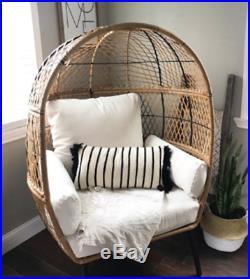 Outdoor Egg Chair Bench Wicker Garden Patio Yard Furniture Modern Accent Seating