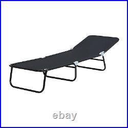Outdoor Foldable Sun Lounger Recliner Bed Garden Chair Relaxing Camping Black