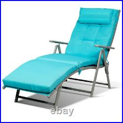 Outdoor Folding Chaise Lounge Chair Lightweight Recliner withCushion Turquoise