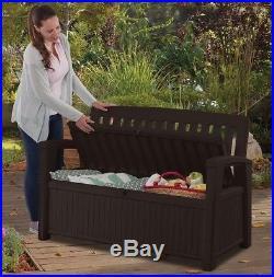 Outdoor Furniture Storage Deck Box Keter 60 Gallon Patio Pool Bench Seat Brown