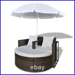 Outdoor Garden Bed Parasol lounge set ship free chair brown sun patio furniture