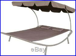 Outdoor Garden Chaise Furniture Double Lounge Bed with Canopy Pillow Day Bed Set