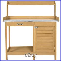 Outdoor Garden Potting Bench Metal Tabletop With Cabinet Work Station