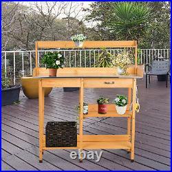 Outdoor Garden Potting Bench Work Station Planting Table Cabinet Shelf Rack
