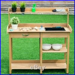 Outdoor Garden Work Station Desk Wooden Cabinet Table Potting Bench Organizer