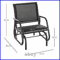 Outdoor Gliding Swing Chair Garden Seat with Mesh Seat Curved Back Steel Frame