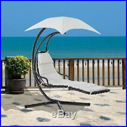 Outdoor Hanging Hammock Swing Chair with Arc Stand Canopy Cream White