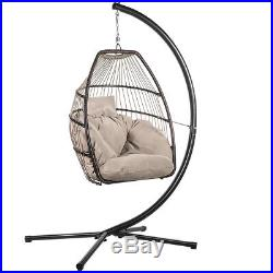 Outdoor Large Lounge Chair Patio Hanging Egg Seat Swing Cushion Headrest, Beige