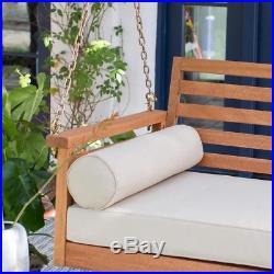Outdoor Living Porch Swing Bed Eucalyptus Wood Deep Seating Cushions Slat Design