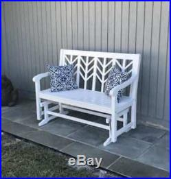 Outdoor Loveseat Glider Bench 4-ft White 2 Person Porch Patio Garden Acacia Wood