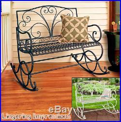 Outdoor Metal Rocking Bench Porch Rocker Patio Furniture Yard Rustic Brown White
