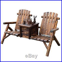 Outdoor Patio 2 person Double Adirondack Wood Bench Chair Loveseat WithIce Bucket
