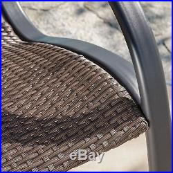 Outdoor Patio Dark Brown PE Wicker Leisure Rocking Arm Chair