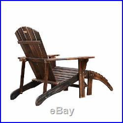 Outdoor Patio Deck Adirondack Chair Fir Wood Lounger Beach Seat Pool with Ottoman