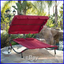 Outdoor Patio Double Wide Patio Pool Hammock Bed Lounger Burgundy