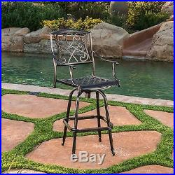 Outdoor Patio Furniture Cast Aluminum Swivel Bar Stool