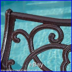 Outdoor Patio Furniture Elegant Cast Aluminum Brown Copper Garden Bench