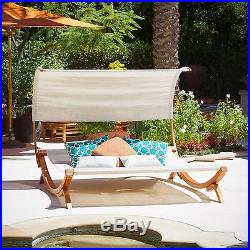 Outdoor Patio Furniture Modern Design Chaise Lounge Sunbed and Canopy
