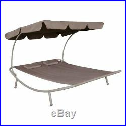 Outdoor Patio Furniture Poolside Lounge Bed Beach Daybed Canopy & Pillows T8Y8