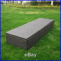 Outdoor Patio Furniture Rattan Wicker Chaise Lounge Beach Poolside Chair Set