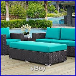 Outdoor Patio Furniture Wicker Rattan Rectangle Ottoman in Espresso Turquoise