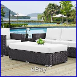 Outdoor Patio Furniture Wicker Rattan Rectangle Ottoman in Espresso White