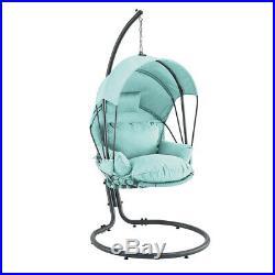 Outdoor Patio Hanging Egg Chair Stand Porch Swing Furniture Deep Cushion, Aqua