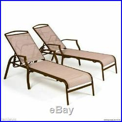 Outdoor Patio Pool Chaise Lounge Chairs Sling Recliner Adjustable Back