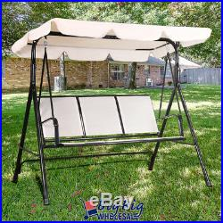 Outdoor Patio Porch Swing Chair Canopy Lounge 3-Person Seat Hammock Bench Beige