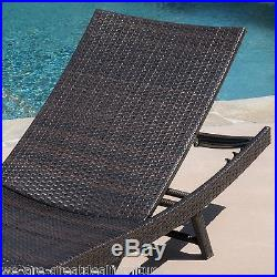 Outdoor Patio Set of 2 Brown PE Wicker Adjustable Chaise Lounge Chairs