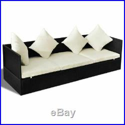 Outdoor Patio Sofa Furniture Daybed Sun Lounger with Cushion Pillow Poly Rattan