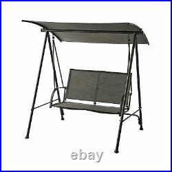 Outdoor Patio Steel 2-Person Porch Swing, Black Frame with Grey Sling