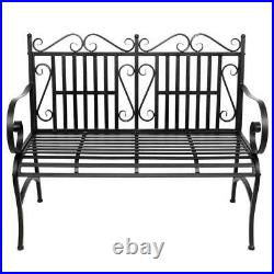 Outdoor Patio Steel Bench Durable Sturdy Home Garden Seating Metal Loveseat
