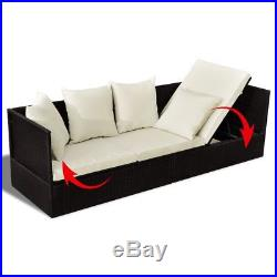 Outdoor Patio Sunlounger Sofa Chair Day Bed with Cushion & Pillow Lounge PE Rattan