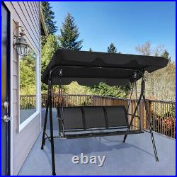 Outdoor Patio Swing Canopy 3 Person Canopy Swing Chair Patio Outdoor Black
