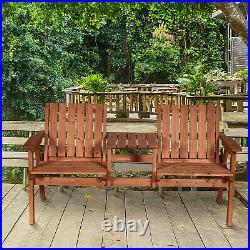 Outdoor Patio Tete a Tete Loveseat Garden Bench Chair Table Umbrella Hole