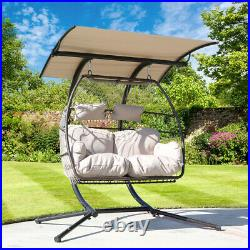 Outdoor Patio Wicker 2 Person Hanging Egg Swing Chair Adjustable Canopy with Stand