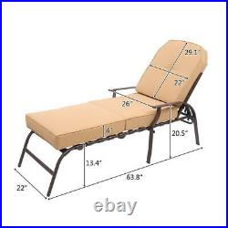 Outdoor Pool Adjustable Patio Lounge Chair Chaise Bed Recliner with Beige Cushion