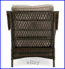 Outdoor Pool Chaise Lounge Chair Patio Furniture PE Wicker Cushion Brown Resin