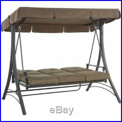 Outdoor Porch Swing With Canopy Patio Steel Furniture Convertible 3 Seat Daybed