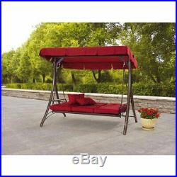 Outdoor Porch Swing With Canopy Patio Steel Furniture Convertible Daybed 3 Seat