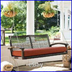Outdoor Porch Swing with Cushion Resin Wicker Seating Hanging Bed Home Patio