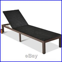 Outdoor Rattan Chaise Lounge Chair Patio Wicker Recliner Bench Sofa with Wheel